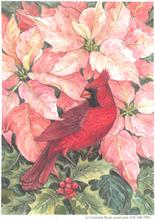 Cardinal and Pink Poinsettias by Lorraine Ryan