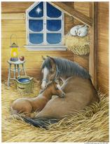Horse and Foal in Barn by Kathy Goff