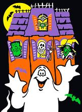 Haunted house with ghost graphic
