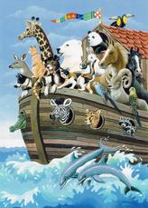 Noah's Ark in the sea with dolphins