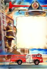 Firemen, fire engine, burning building, axe