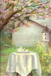 Tea, table, outside, house