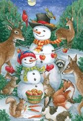 Winter animals with snowmen, squirrel, deer, bunnies, fox