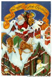 Santa, sleigh, rooftop, child, house, victorian, twas the night before christmas, reindeer, chimney