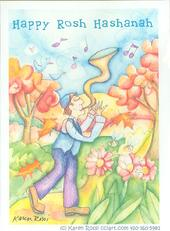 Rosh Hashanah design with man, horn and flowers