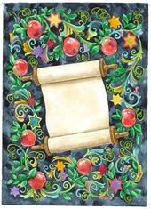 Rosh Hashanah scroll and apples