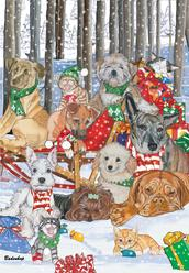Lots of whimsical dogs and cats in the snow