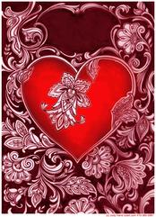 Valentine Heart on burgandy
