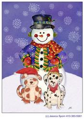 snowman, puppy, kitten, whimsical