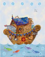 Noah's Ark on the see with colorful whimsical fish