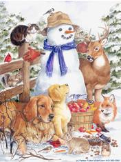 Snowman with winter animals including dogs, cat, birds, bunny, squirrels, deer.