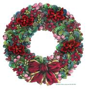 wreath, red, floral, berries, bow