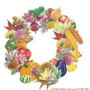 Fall wreath, vegetables, flowers, leaves