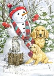 Snowmen, Golden Retrievers, Cat, tug-o-war