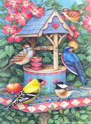 Birds with Wishing Well Bird Feeder