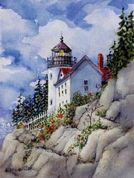 Bass Harbor Heat Light, Lighthouse, rocks