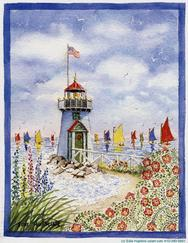 Lighthouse, colorful sail boats