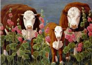 cows, pink flowers, plants