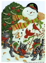 Snowman with 3 playful Christmas cats