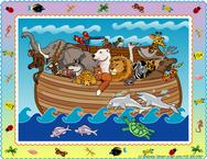 Whimsical Noah's ark on the sea with critter border