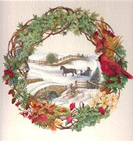 Fall Wreath with horse and buggy, covered bridge, snow and Cardinal