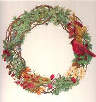 Fall Wreath with leaves, acorns, berries and cardinal