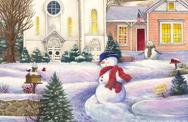 Snowman and Church by Judith Cheng