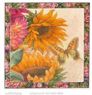 Sunflowers with butterly and floral border