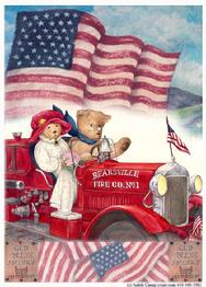 teddybears on fire engine patriotic with flags