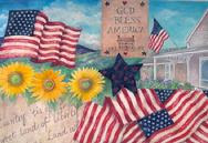 God Bless America, flags, sunflowers, stars, house