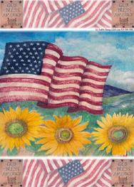 patriotic God Bless design with sunflowers and flags