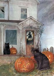 Haunted House, black cat, jackolanterns