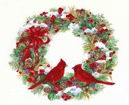 Christmas Wreath with snow, ribbons, berries, wheat, cardinals