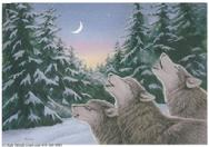 wolves, howling, moon, trees, snow, winter