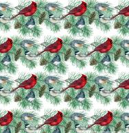 Cardinals, Chickadees, Evergreen, repeat, pattern