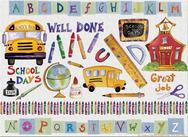 School, alphabet, bus, supplies, globe, crayons