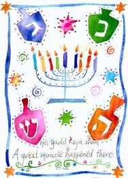 Hanukkah design with dradles and menorah