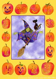 Witch, Broomstick, Pumpkins