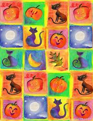 Black Cats, Moons, Pumpkins, Leaves
