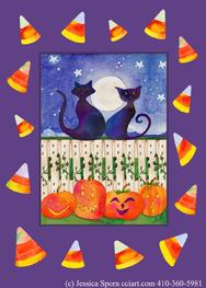 Black Cats, Picket Fence, Pumpkins, Candy Corn
