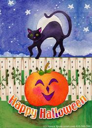 Happy Halloween Cat and Pumpkin