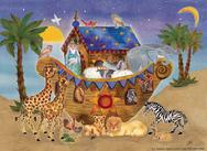 Noah's Ark at night with animals and starry sky and palm trees