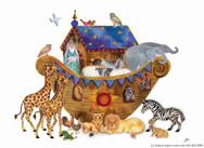 Noah's Ark with animals no background