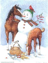 snowman, horse, foal, basket, birds, apples, corn, birdfeed