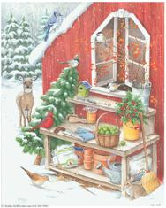 Potting Shed, red, shelf, pots, deer, tree, cardinal, baskets, bunny