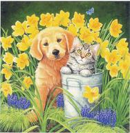 Golden Pup and Kitten Daffodils and watering can by Kathy Goff
