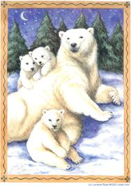 Polar Bear mom and 3 cubs at night