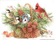 Holly, basket, cardinal, chickadees