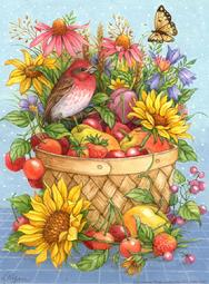 Purple Finch in fruit basket with flowers and berries