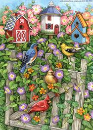 Birdhouses, birds, gate, morning glories